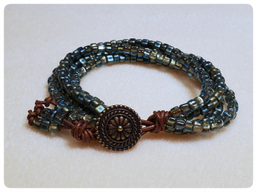 Gypsy Wildflower Bracelet with Sage Green Beads and Greek Leather