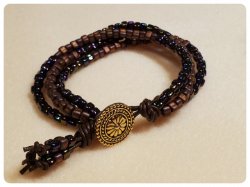Pink Gypsy Wildflower Bracelet with Spice Brown Beads and Greek Leather