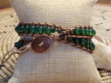 Green Agate Wrap Bracelet, Beads and Natural Leather