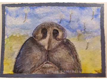 Original ACEO - Dog Nose Watercolor, 'Nose Up!', ATC Size Small Painting