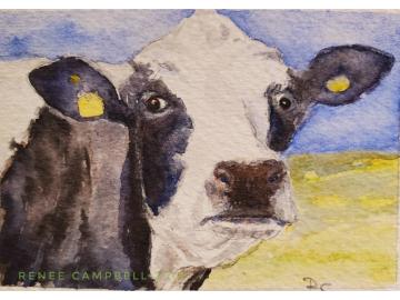 Original Miniature - Cow 'Got Milk' Watercolor, ACEO ATC Size Small Painting