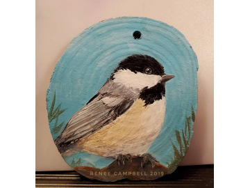 Ornament - Chickadee on Wood Slice