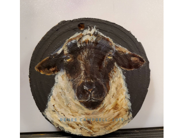 "Ornament - ""Simply Ewe!"" Sheep on Wood Slice"