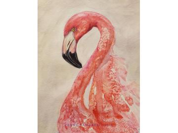 Original Flamingo Watercolor, Mixed Media 9x12 Painting
