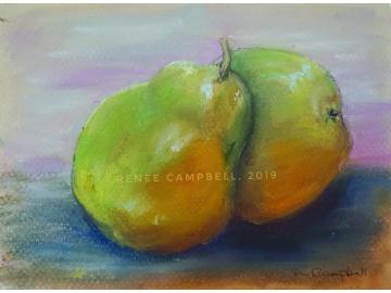 "Original Pears Study, Pastel Painting, Small 5"" x 7"""