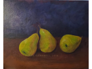 "Original Dancing Pears, Acrylic 8"" x 10"" Painting, Still Life"