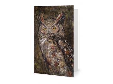 "3 Pk of Cards - Great Horned Owl Art Print, 7"" x 5"""