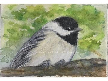 Original ACEO - Chickadee Watercolor, ATC Size Small Painting