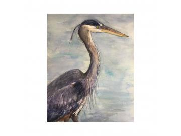 """Original Great Blue Heron Watercolor, 9"""" x 12"""" Painting"""