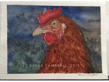 "Original ""Evening Hen,"" Watercolor, Mixed Media Small Painting"