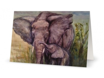 """3 Pk of Cards - Mother Elephant and Child Art Print, 5"""" x 7"""""""