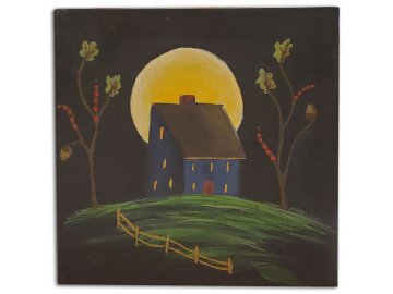 Blue Salt Box House in Moonlight