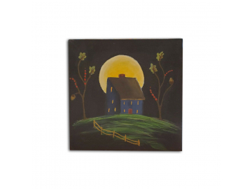 "Americana Decorative Blue Saltbox House with Moon - Small 6"" x 6"" Painting on Canvas Board"