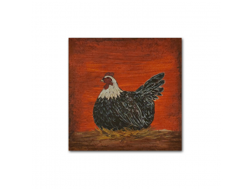 "Country Prim Laying Hen - Small 6"" x 6"" Painting on Canvas Board"