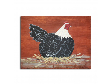 "Country Prim Laying Hen 8"" x 10"" Painting"