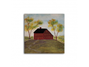 "Americana Red Meeting House on the Hill - Small 6"" x 6"" Painting"