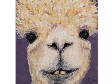 """Original - Alpaca Painting, Small 5"""" x 5"""" Canvas"""