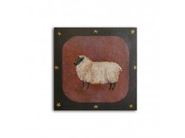 Shetland Sheep Ewe, American Folk Art Small Painting, 6x6 Acrylic