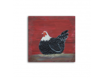 "Country Prim Laying Hen 6"" x 6"" Painting"