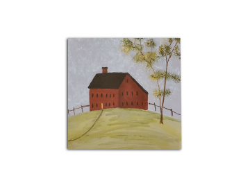 "Americana Decorative Red Meeting House - Small 6"" x 6"" Painting on Canvas Board"