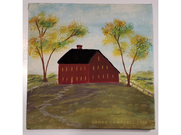 "Americana Decorative Red Meeting House on the Hill - Small 6"" x 6"" Painting on Canvas Board"