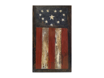 Heart Flag Prim Painting on Wood Plank Plaque