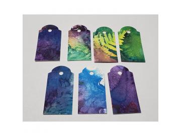 Gift Tags Purple Green Fern, 7pc Set